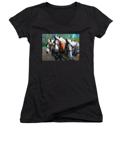 Women's V-Neck T-Shirt (Junior Cut) featuring the photograph Three Horses Break Time  by Tom Jelen