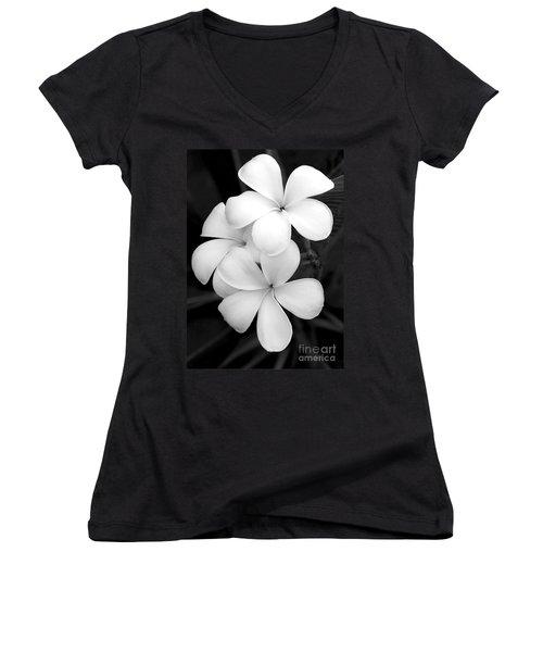 Three Plumeria Flowers In Black And White Women's V-Neck