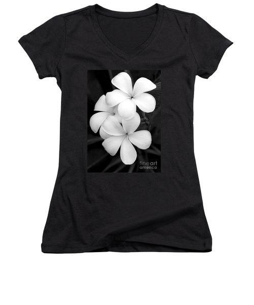 Three Plumeria Flowers In Black And White Women's V-Neck T-Shirt
