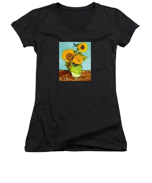 Three Sunflowers In A Vase Women's V-Neck T-Shirt (Junior Cut) by Vincent Van Gogh