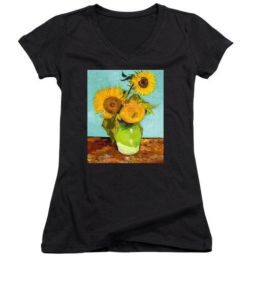 Three Sunflowers In A Vase Women's V-Neck