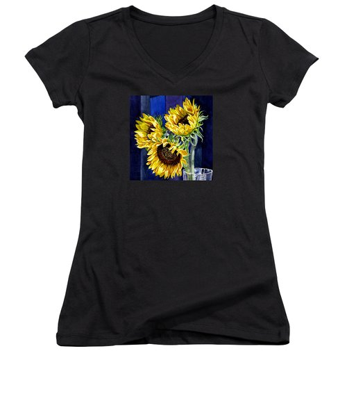 Three Sunny Flowers Women's V-Neck