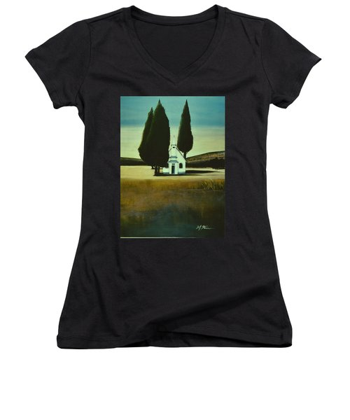 Three Trees And A Church Women's V-Neck T-Shirt