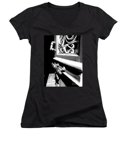 Women's V-Neck T-Shirt (Junior Cut) featuring the photograph Through An Open Door Into Darkness by Vicki Spindler