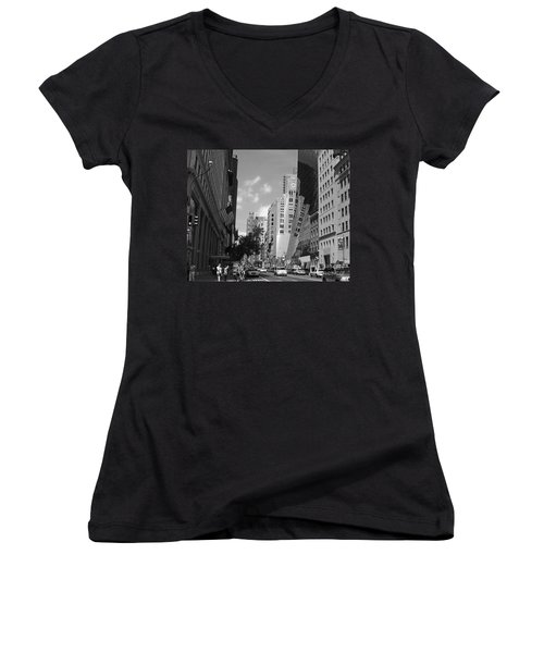 Women's V-Neck T-Shirt (Junior Cut) featuring the photograph Through The Looking Glass In Black And White by Meghan at FireBonnet Art
