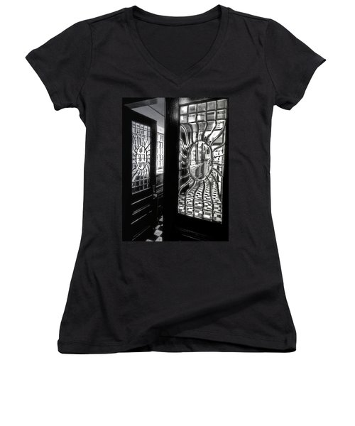 Through The Lookinglass And Onto The Checkerboard Women's V-Neck T-Shirt