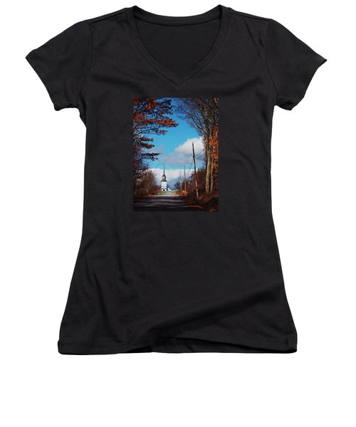 Through The Trees View Of The Norlands Church Steeple Women's V-Neck T-Shirt (Junior Cut) by Joy Nichols