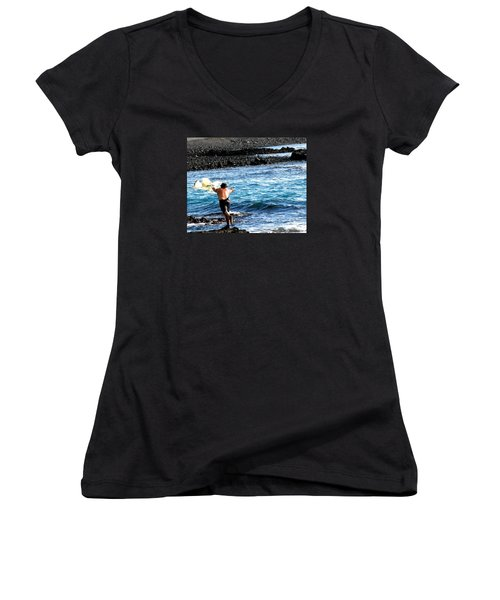 Women's V-Neck T-Shirt (Junior Cut) featuring the photograph Throw.... by Lehua Pekelo-Stearns