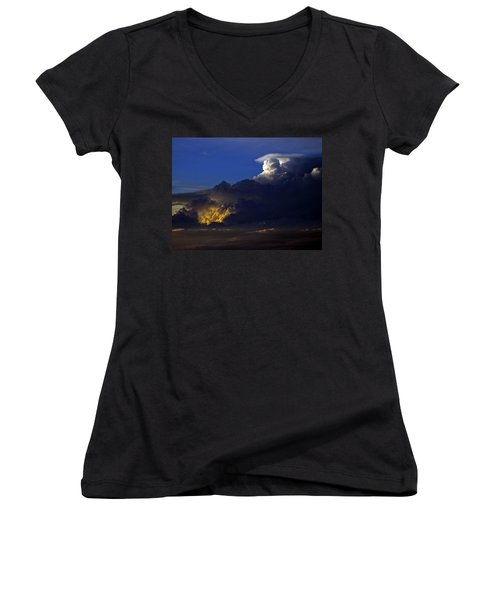Women's V-Neck T-Shirt (Junior Cut) featuring the photograph Thunderstorm II by Greg Reed