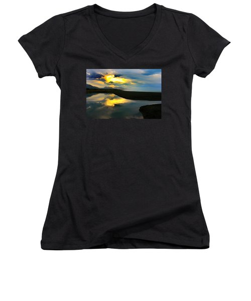 Women's V-Neck T-Shirt (Junior Cut) featuring the photograph Tidal Pond Sunset New Zealand by Amanda Stadther