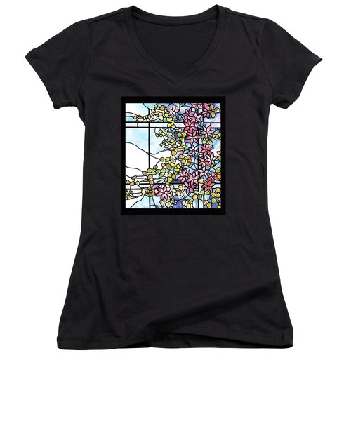Stained Glass Tiffany Floral Skylight - Fenway Gate Women's V-Neck T-Shirt (Junior Cut) by Donna Walsh