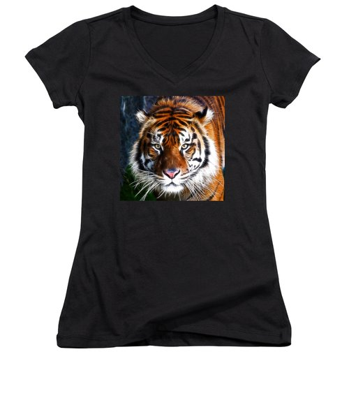 Tiger Close Up Women's V-Neck T-Shirt