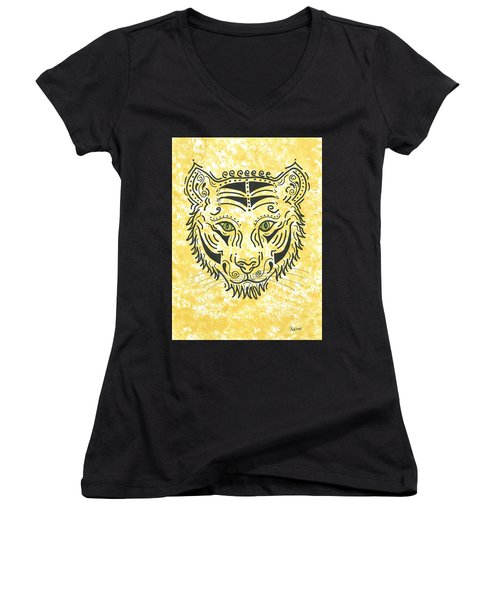 Women's V-Neck T-Shirt (Junior Cut) featuring the painting Tiger Eye by Susie WEBER