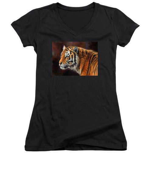 Tiger Portrait  Women's V-Neck T-Shirt