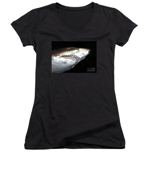 Women's V-Neck T-Shirt (Junior Cut) featuring the photograph Tiger Shark by Sergey Lukashin