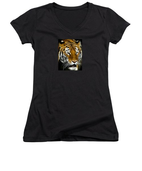 Tiger Tiger Burning Bright Women's V-Neck T-Shirt (Junior Cut) by Venetia Featherstone-Witty