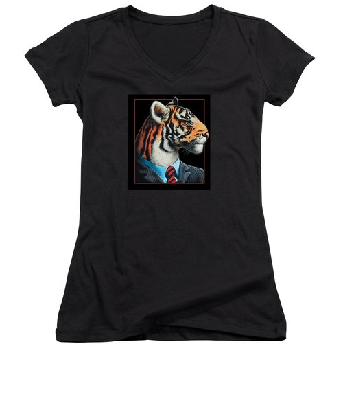 Women's V-Neck T-Shirt (Junior Cut) featuring the digital art Tigerman by Scott Ross