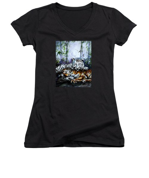 Women's V-Neck T-Shirt (Junior Cut) featuring the painting Tigers-mother And Child by Harsh Malik