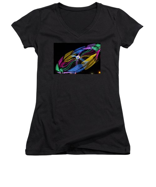 Women's V-Neck T-Shirt (Junior Cut) featuring the photograph Tilt A Whirl by Steven Bateson
