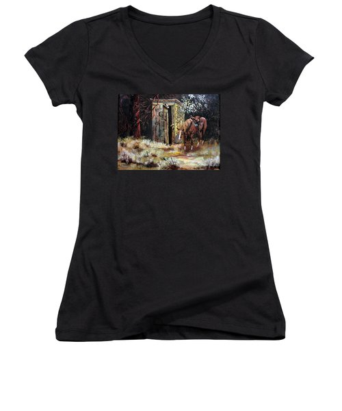 Time Out Women's V-Neck T-Shirt (Junior Cut) by Lee Piper