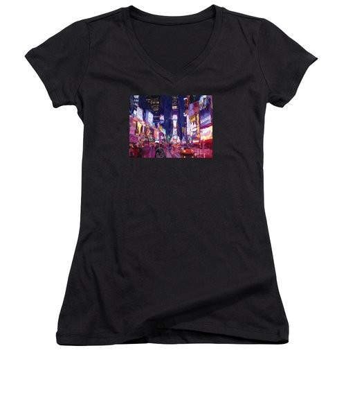 Amy's Time Square In The Rain Women's V-Neck T-Shirt (Junior Cut) by Tim Gilliland
