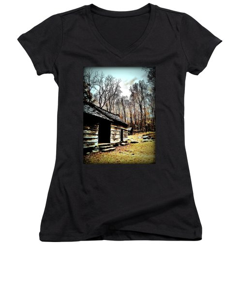 Women's V-Neck T-Shirt (Junior Cut) featuring the photograph Time Standing Still by Faith Williams