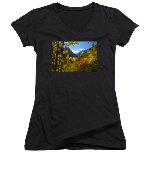 Time Stops Women's V-Neck T-Shirt (Junior Cut) by Jeremy Rhoades