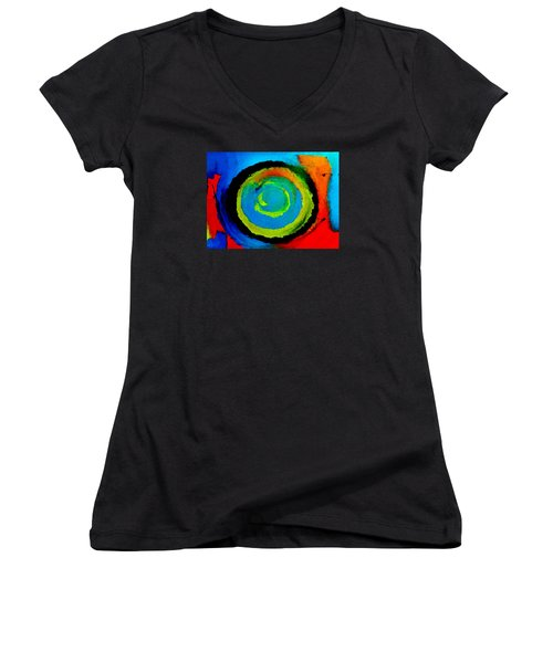 Women's V-Neck T-Shirt (Junior Cut) featuring the painting Time Traveler  by Lisa Kaiser