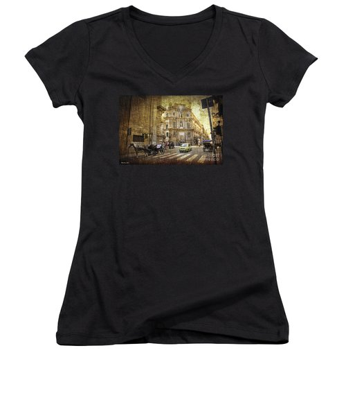 Time Traveling In Palermo - Sicily Women's V-Neck (Athletic Fit)