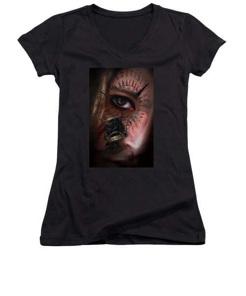 Time Travler  Women's V-Neck T-Shirt (Junior Cut) by Nathan Wright