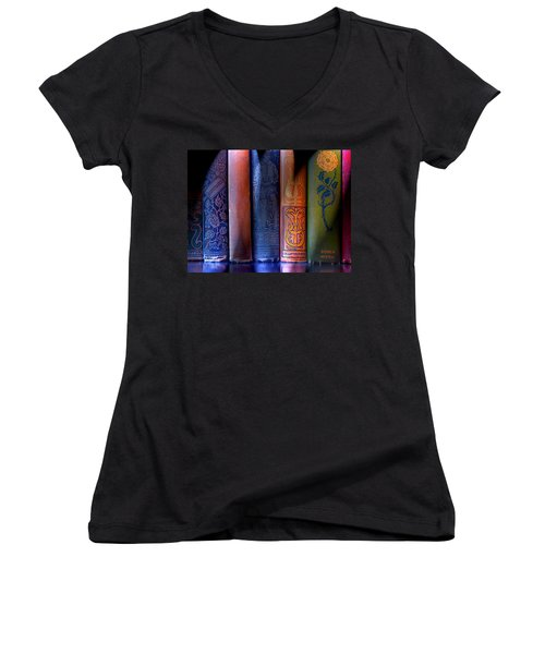 Time Worn Women's V-Neck T-Shirt (Junior Cut) by Michael Eingle