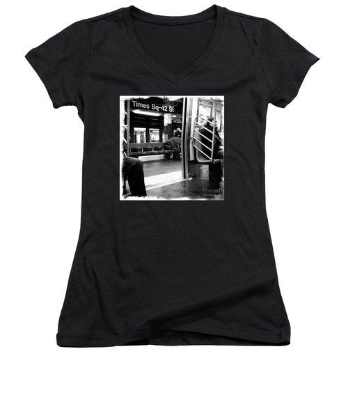 Times Square - 42nd St Women's V-Neck T-Shirt (Junior Cut) by James Aiken