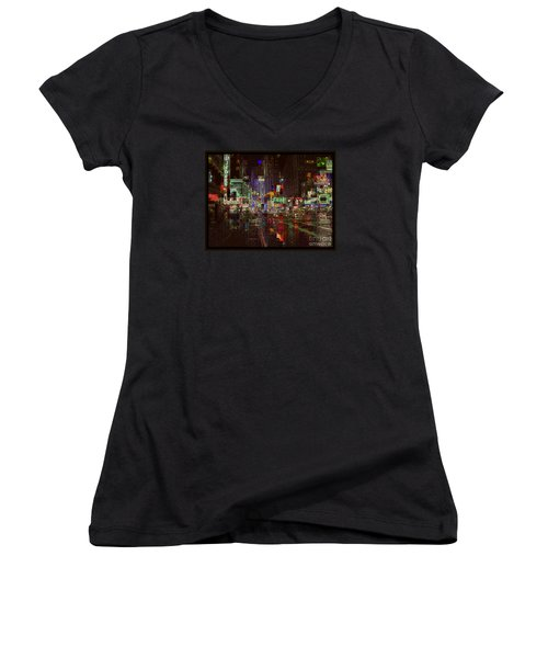 Times Square At Night - After The Rain Women's V-Neck T-Shirt (Junior Cut) by Miriam Danar