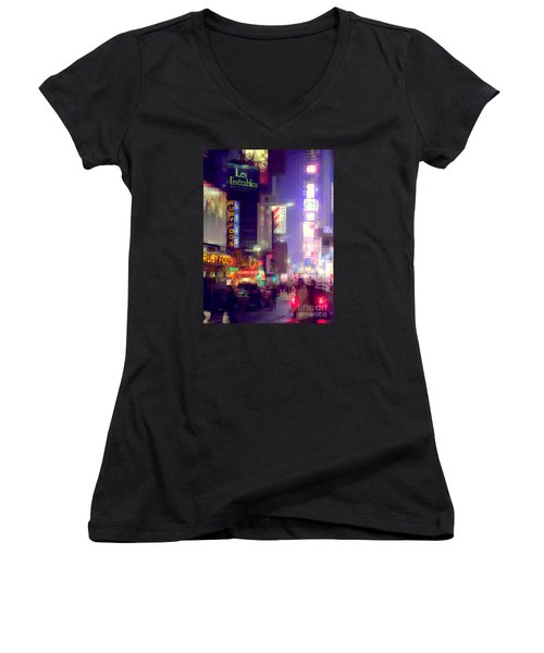 Times Square At Night - Columns Of Light Women's V-Neck T-Shirt