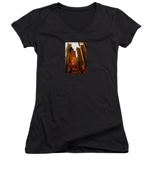 Times Square In Manhattan Women's V-Neck (Athletic Fit)