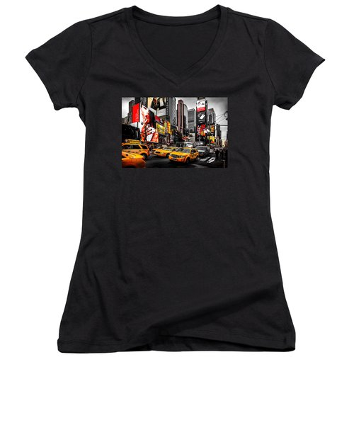 Times Square Taxis Women's V-Neck T-Shirt (Junior Cut) by Az Jackson