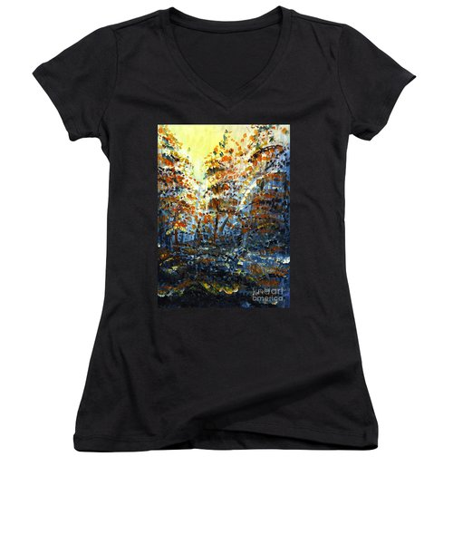 Women's V-Neck T-Shirt (Junior Cut) featuring the painting Tim's Autumn Trees by Holly Carmichael