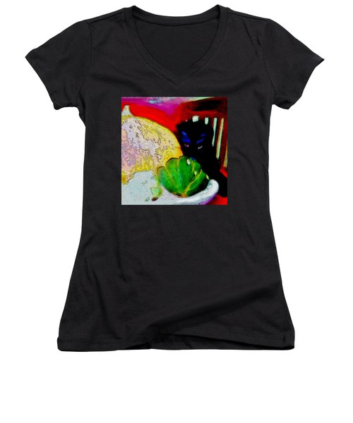 Women's V-Neck T-Shirt (Junior Cut) featuring the painting Tiny Black Kitten by Lisa Kaiser