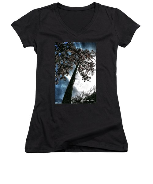 Women's V-Neck T-Shirt (Junior Cut) featuring the photograph Tippy Top Tree II Art by Lesa Fine