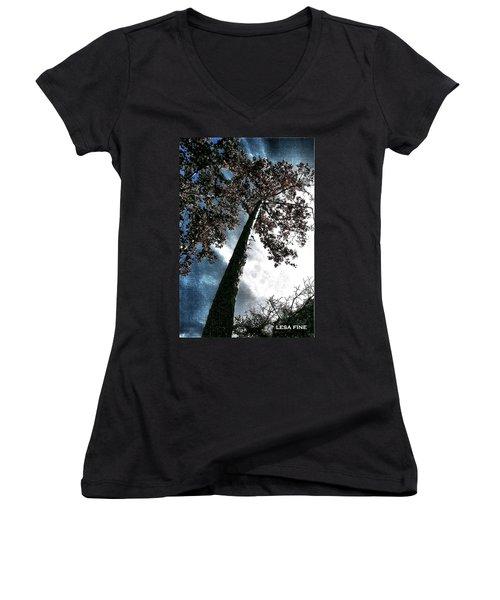 Tippy Top Tree II Art Women's V-Neck T-Shirt