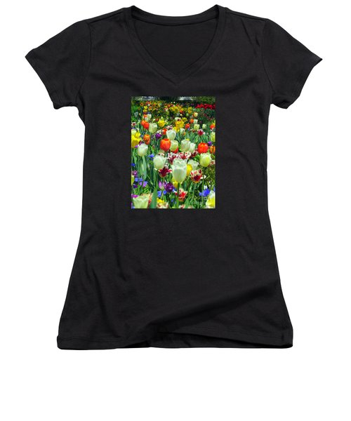 Tiptoe Through The Tulips Women's V-Neck T-Shirt (Junior Cut) by Elizabeth Dow