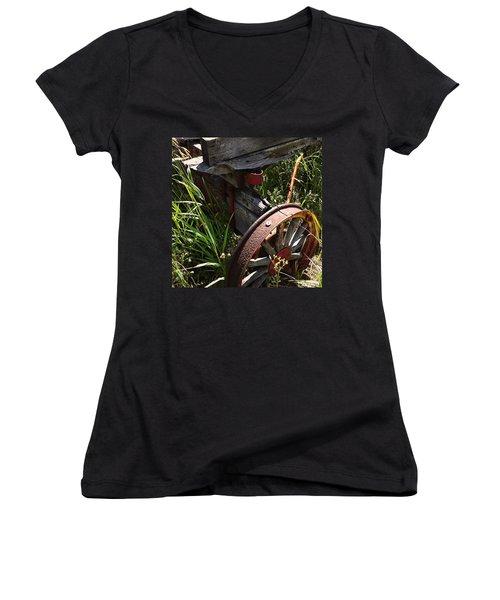 Women's V-Neck T-Shirt (Junior Cut) featuring the photograph Tireless by Meghan at FireBonnet Art