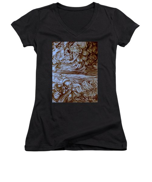 Women's V-Neck T-Shirt (Junior Cut) featuring the drawing Titan In Desert by Mikhail Savchenko