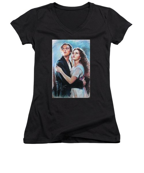 Titanic Jack And Rose Women's V-Neck T-Shirt (Junior Cut) by Viola El