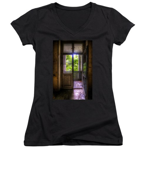 To The Balcony  Women's V-Neck T-Shirt (Junior Cut) by Nathan Wright