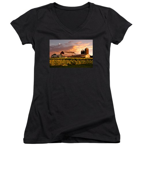 Tobacco Row Women's V-Neck T-Shirt (Junior Cut) by Randall Branham