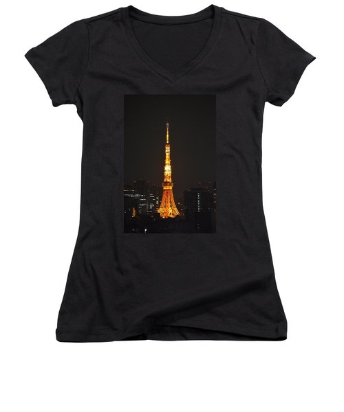 Tokyo Tower And Skyline At Night From Shinagawa Women's V-Neck T-Shirt (Junior Cut) by Jeff at JSJ Photography