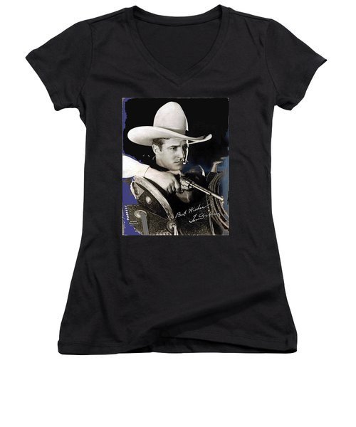 Tom Mix Portrait Melbourne Spurr Hollywood California C.1925-2013 Women's V-Neck (Athletic Fit)