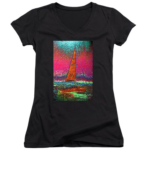 Tom Ray's Sailboat 3 Women's V-Neck T-Shirt (Junior Cut) by First Star Art