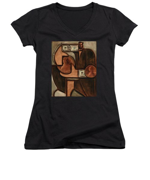 Tommervik Abstract Abraham Lincoln Penny Art Print Women's V-Neck (Athletic Fit)